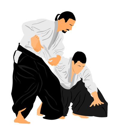 Fight between two aikido fighters vector symbol illustration. Sparring on training action. Self defense, defence art excercising concept. Karate and aikido fighters. Traditional warriors skills.