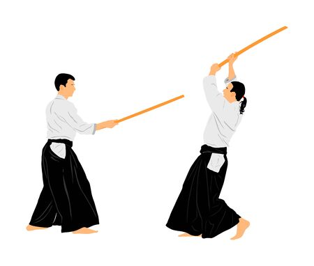 Fight between two aikido fighters vector symbol illustration. Sparring on training action. Self defense skills, defence art excercise concept. Karate and aikido fighters. Traditional warriors. Ilustração