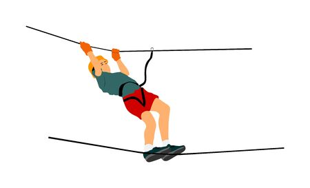 Extreme sportsman took down with rope. Man climbing vector illustration, isolated. Rescue mountain unit. Sport weekend action in adventure park rope ladder. Rope way for kids fun, team building.