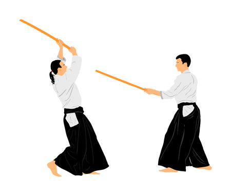 Fight between two aikido fighters vector illustration symbol. Sparring on training action. Self defense, defence art exercising concept. Illustration