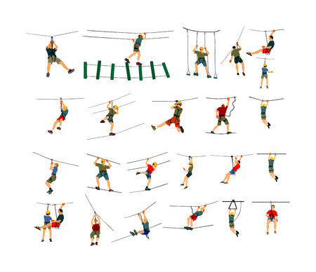 Extreme sportsman climb wit rope. Man climbing vector illustration, isolated on background. Sport weekend action in adventure park. Rock wall for fun. Tough and healthy discipline. Climbers group.