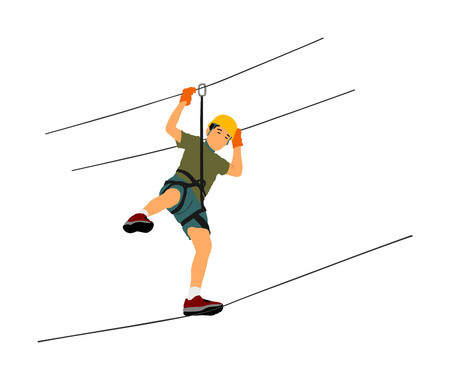 Extreme sportsman took down with rope. Man climbing vector illustration, isolated on white. Sport weekend zipline action in adventure park rope ladder. Ropeway for fun, team building. Rescue mission.