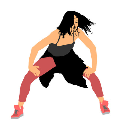 Modern style dancer girl vector illustration isolated on background. Woman ballet performer. Sexy hip hop lady.  Time out spectacle, cheerleader performer dance. Sport support event. Urban fashion. Ilustrace