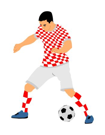 Croatian soccer player in action vector illustration isolated on white background. Football player battle for the ball and position. Member of Croatia national team. Sportsman with ball. Soccer sport