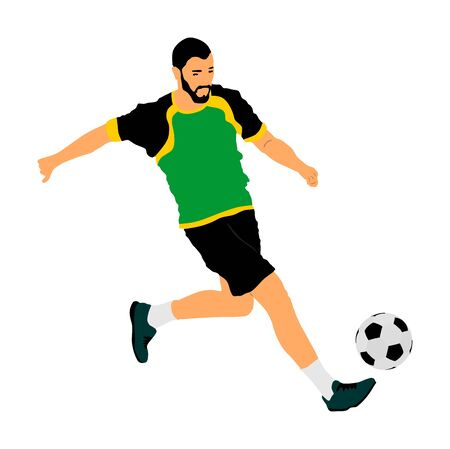 Soccer player with ball in action vector illustration isolated on white background. Football player battle for the ball and position. Member of super star team. Sport activity with ball on training.