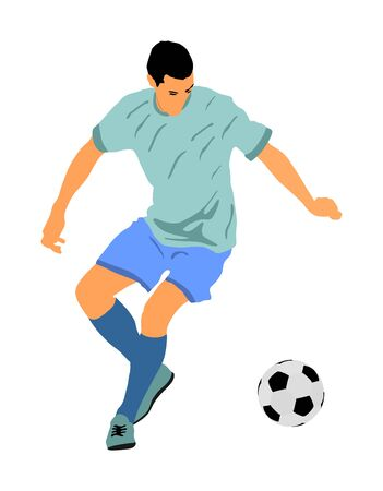 Soccer player with ball in action vector illustration isolated on white background. Football player battle for the ball and position. Member of super star team. Sport activity with ball on training. Vector Illustratie