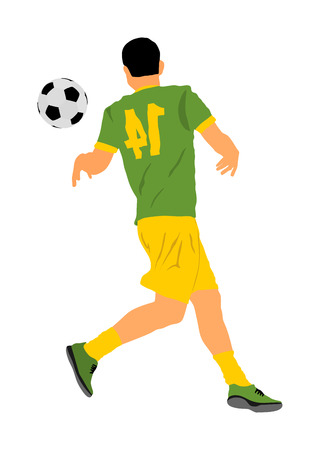 Brasil soccer player in action vector illustration isolated on white background. Football player battle for the ball and position. Member of Brazilian national team.