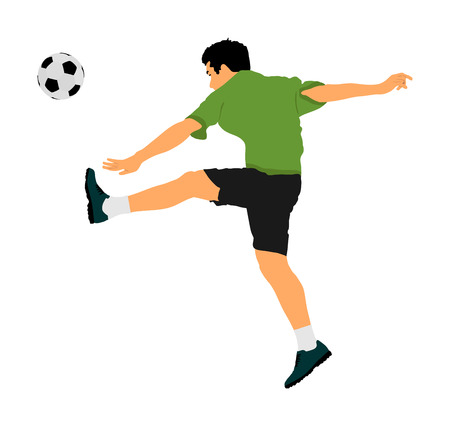 Soccer player with ball in action vector illustration isolated on white background. Football player battle for the ball and position. Member of super star team. Boy with ball. Sport man in action.