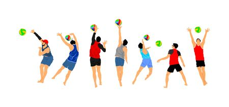 Beach volleyball player vector illustration isolated on white background. Volleyball boy in action. Summer time enjoying on sand. Man sport activity. Active life style. Outdoor fun with ball activity.