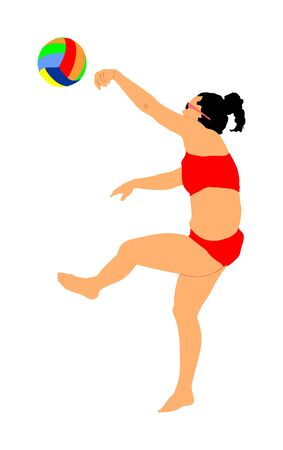 Beach volleyball player vector illustration isolated on white background. Volleyball girl in action.  Summer time enjoying on sand. Woman sport activity. Active life style. Illustration