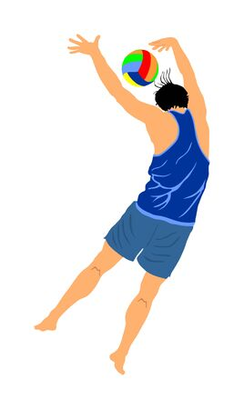 Beach volleyball player vector illustration isolated on white background. Volleyball boy in action. Summer time enjoying on sand. Man sport activity. Active life style. Outdoor summer fun with ball.