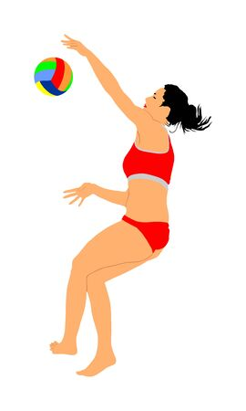 Beach volleyball player vector illustration isolated on white background. Volleyball girl in action.  Summer time enjoying on sand. Woman sport activity. Active life style. Ilustração
