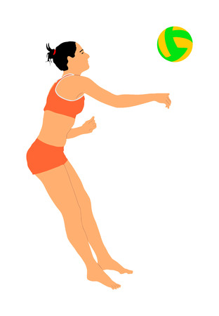 Beach volleyball player vector illustration isolated on white background. Volleyball girl in action.  Summer time enjoying on sand. Woman sport activity. Active life style. 일러스트