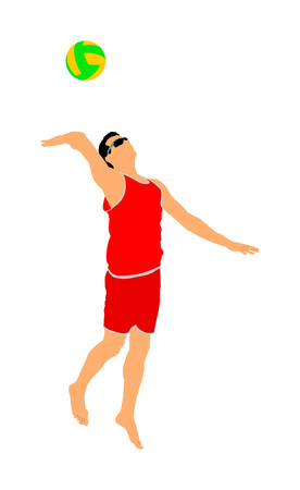 Beach volleyball player vector illustration isolated on white background. Volleyball boy in action. Summer time enjoying on sand. Man sport activity. Active life style. 일러스트
