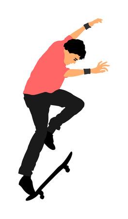 Extreme sport game, skateboarder in skate park, air jump trick. Skateboard vector illustration isolated on white background.