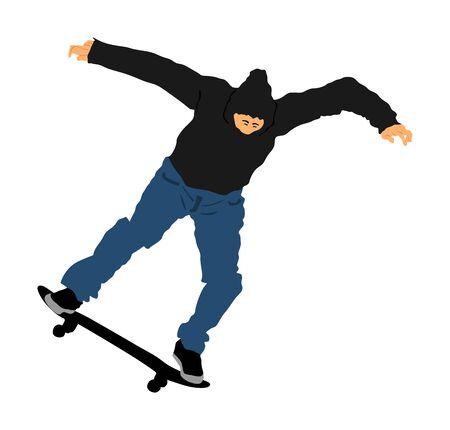 Extreme sport game, skateboarder in skate park, air jump trick. Skateboard vector illustration isolated on white background. Man acrobat skills.