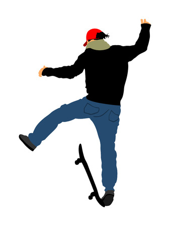 Extreme sport game, skateboarder in skate park, air jump trick. Skateboard vector illustration isolated on white background. Outdoor urban action. Sport accident. Injured athletes falls.