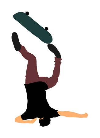 Skater falls on the street. Injured athletes accident. Extreme sportsman in skate park jump trick. Skateboarder vector illustration isolated on white background. Outdoor urban action. Sport accident.