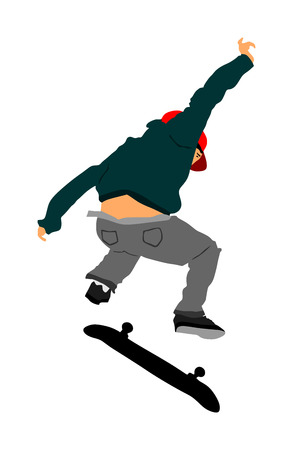 Extreme sport game, skateboarder in skate park, air jump trick. Skateboard vector illustration isolated on white background. Outdoor urban action. Gymnastic jumping with board. Street show performer.