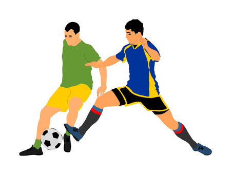 Soccer players in duel vector illustration isolated on white background. Football player battle for the ball and position. Sport activity people.