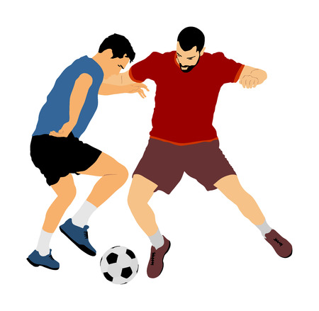 Soccer players in duel vector illustration isolated on white background. Football player battle for the ball and position. Attractive sport game, superstars on the scene.