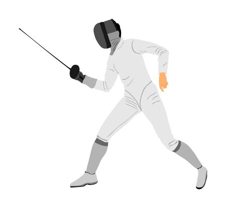Fencing player portrait vector illustration isolated on white background. Fencing competition event. Sword fighting. Fence battle. Vecteurs