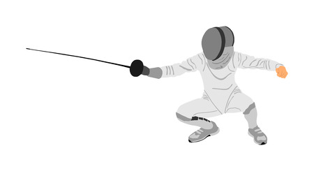 Fencing player portrait vector illustration isolated on white background. Fencing competition event. Sword fighting. Fence battle. Ilustração