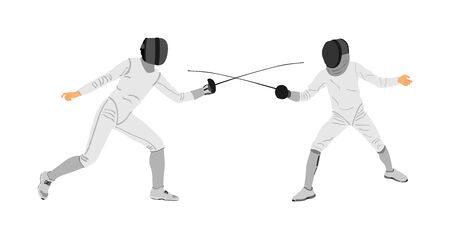 Fencing player portrait vector illustration isolated on white background. Fencing duel competition event. Sword fighting. Swordplay duel black shadow.Quick move game. Athlete man art figure Archivio Fotografico - 129271536