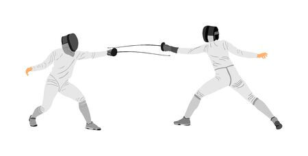 Fencing player portrait vector illustration isolated on white background. Fencing duel competition event. Sword fighting. Swordplay duel black shadow.Quick move game. Athlete man art figure Ilustração