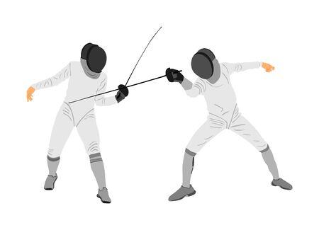 Illustration de vecteur de portrait de joueur d'escrime isolée sur fond blanc. Compétition d'escrime en duel. Combat à l'épée. Swordplay duel black shadow.Quick move game. Figure d'art homme athlète Vecteurs