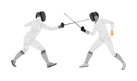 Illustration de vecteur de portrait de joueur d'escrime isolée sur fond blanc. Compétition d'escrime en duel. Combat à l'épée. Swordplay duel black shadow.Quick move game. Figure d'art homme athlète