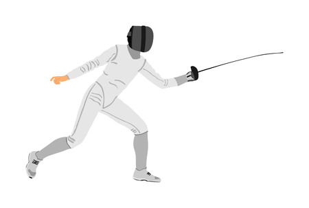 Fencing player portrait vector illustration isolated on white background. Fencing competition event. Sword fighting. Swordplay black shadow. Quick move game. Athlete man art figure.