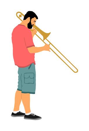 Trombone player vector illustration. Music man play wind instrument. Music artist. Jazz man. Bugler street performer. Musician play trumpet. Entertainment for public. Classic music event.