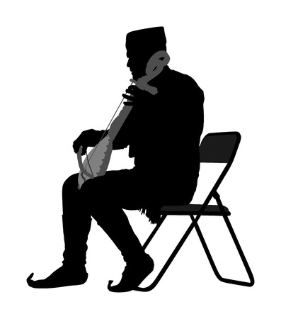 Guslar play gusle vector silhouette, traditional music instrument from Montenegro and Balkan. Balkan musician player and singer vector illustration. Folklore artist event.
