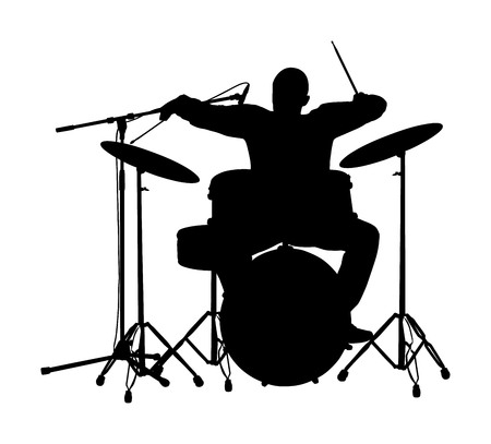 Rock and roll drummer vector silhouette illustration isolated on white background. Musician play drums on stage. Super star music concert show. Great event for fan supporters. Drummer player shadow. 向量圖像