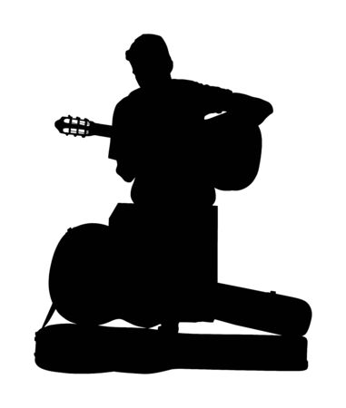 Street performer with guitar vector silhouette illustration isolated on white background. Guitar player artist. Musician man. Music event. Amusement and entertainment on stage event for public. Banque d'images - 129271564