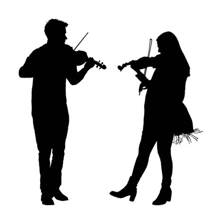 Young man and woman playing violin in duet vector silhouette isolated on white. Classic music performer concert. Musician artist amusement public. Virtuoso on violin. Girl plays string instrument. Иллюстрация