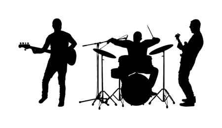 Rock and roll band vector silhouette. Musician play bass guitar and drums on stage. Super star music concert show. Great event for fan supporters. Drummer and guitarists players. Singer artist.