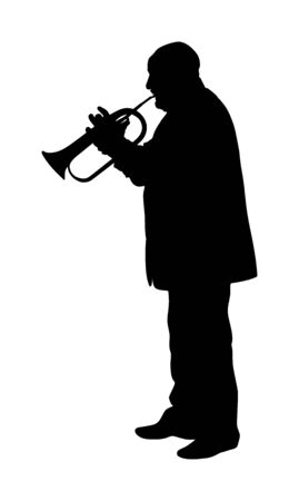 Man with trumpet on stage vector silhouette isolated on white background. Music men. Jazz man. Bugler man street performer. Musician entertainment.