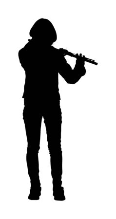 Young woman flute music playing vector silhouette. Flutist musician performer with wind musical instrument illustration. Street performer. Music flutist lady portrait. Ilustração