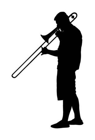 Trombone player vector silhouette illustration. Music man play wind instrument. Music artist. Jazz man. Bugler street performer. Musician play trumpet. Entertainment for public. Classic music event. Ilustração