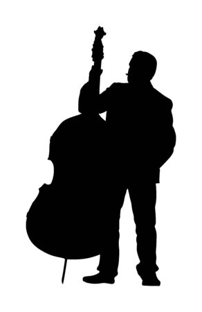 Man on street playing contra bass vector silhouette. Music man with contrabass standing on the concert event. Double bass performer.