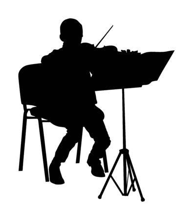 Young man playing violin vector silhouette isolated on white background. Classic music performer concert. Musician artist amusement public. Virtuoso on violin. Boy plays string instrument.