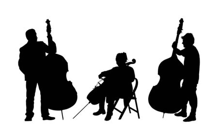 Music trio, woman cellist playing cello with contrabass man duet vector silhouette. Classic music event artists play string instrument in orchestra. Jazz street performer. Musicians double bass band on stage. Illustration