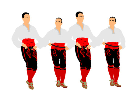 Balkan dancers vector illustration isolated on white background. Folk dance kolo in east Europe. Greek Evzone traditional dancing group. Folklore event. Sirtaki, Syrtaki. Wedding dance.  イラスト・ベクター素材