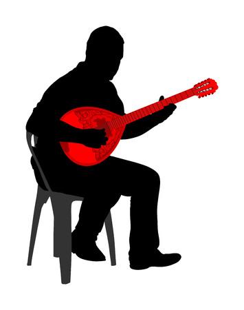 Bouzouki player vector silhouette illustration. Street performer. Greek traditional string instrument. Folklore performer on the street. Greece folk event. Baglama, zurna, turkish performer.
