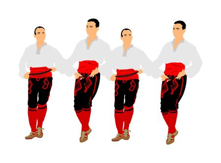 Balkan dancers vector illustration isolated on white background. Folk dance kolo in east Europe. Greek Evzone traditional dancing group. Folklore event. Sirtaki, Syrtaki. Wedding dance. Illustration