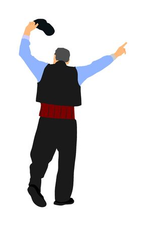 A Greek Evzone dancing vector isolated on white background. Traditional folk dance. Dancing man vector illustration. Traditional Balkan dance folklore kolo. Sirtaki, Syrtaki, dance. Wedding dance.