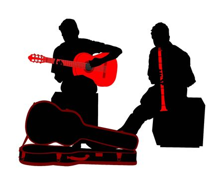 Street performers with guitar and flute, clarinet vector silhouette illustration isolated on white background. Guitar player, and flutist. Musician duet. Music event. Amusement and entertainment event