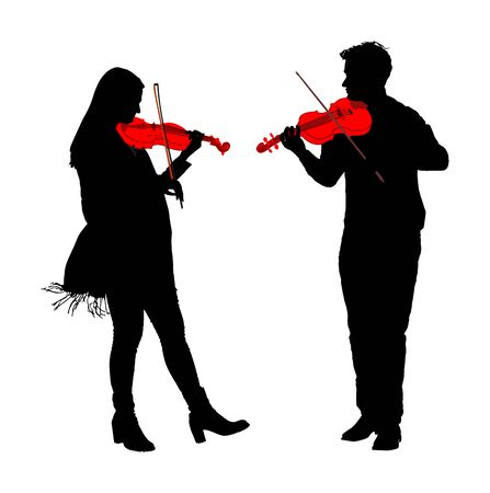 Man and woman playing violin duet vector silhouette isolated on white. Classic music performer concert. Musician artist amusement public. Violin virtuoso. Girl play string instrument. Couple in love